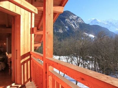 Les Houches chalet rental - Top floor bedrooms balcony, facing Mont Blanc.