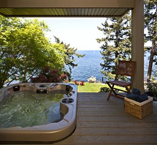 View of hot tub and ocean from second bedroom
