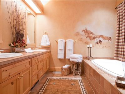 Master suite full bath features hand painted wall mural & large walk-in shower