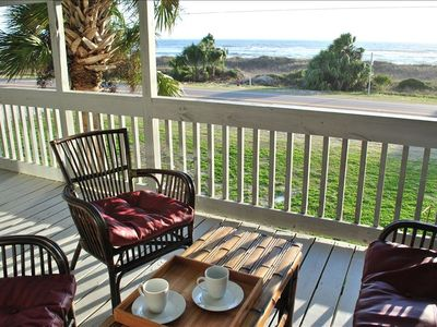 Enjoy morning coffee from the upper deck with a fantastic view of the water!
