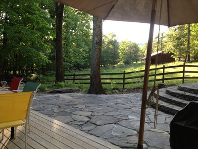 Summer at the Back deck with stone patio and BBQ