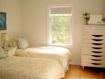 Pretty Guest Bedroom with Twin Beds-- 100% cotton duvets & sheets throughout.