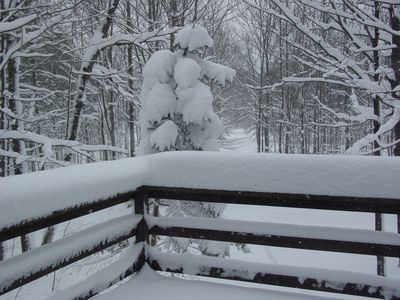 Spectacular Winter in Northern Michigan on our large outdoor deck.