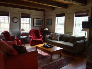 Rumney farmhouse photo - The very large and comfortable living room with plenty of seating.