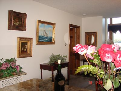 Highland Lake chalet rental - dining area art