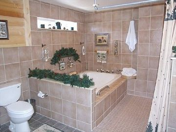 master suite bath (garden tub/tiled area w/4 shower heads).