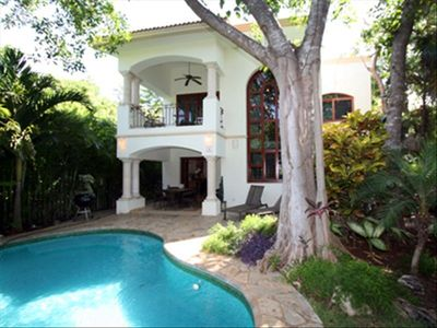 Back View of Casa Manantial with Golf Course View and Lovely Pool with Waterfall