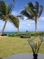 Punaluu cottage photo - sitting on lanai facing beach