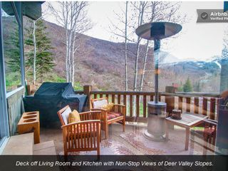 Deer Valley house photo - DECK OFF OF LIVING ROOM AND KITCHEN. GAS GRILL. HEAT LAMPS.