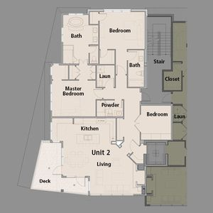 Unit 2 floor plan. The elevator opens directly into Unit 2 - no hallways!