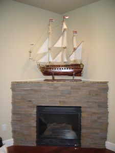 Gas Fireplace. This ship was hand made by my Father-in-Law.