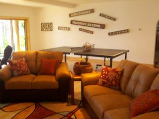 Gouldsboro cabin photo - The Rec Room - Enjoy Ping Pong, TV, the fireplace, or enjoy the view...