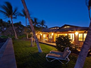 Puako house photo - Lanai/Lounge area/Lawn/Palm Trees/Seawall, Sunset/Ocean