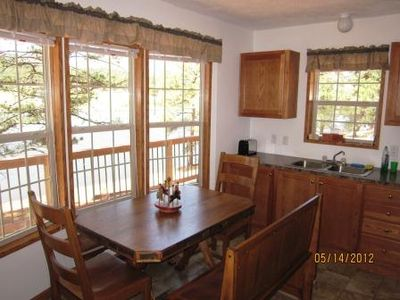 Sedalia cabin rental - Cabin kitchen and lake view