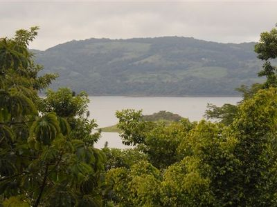 Tropical rainforest jungle views, with Lake Arenal and Monteverde beyond