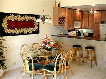 Wailea condo rental - Tropical Dining & our new Kitchen with granite counters & bar awaits you