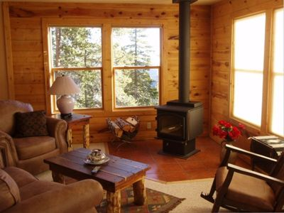 "That Warm Colorado feel relaxed by the Fireplace at the ""Wilderness Cabin"""