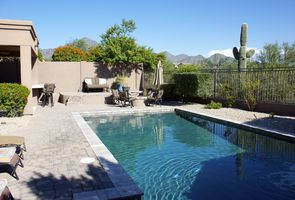 Backyard With Mountain Views, Tumbled Pavers, Travertine and Stainless B