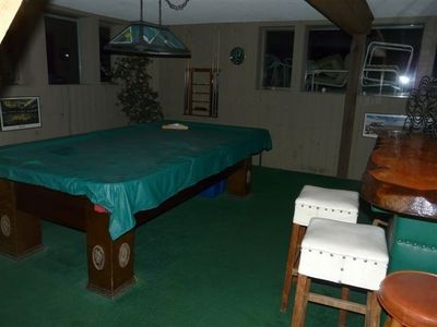 Game room with pool, bar, card table & hot tub