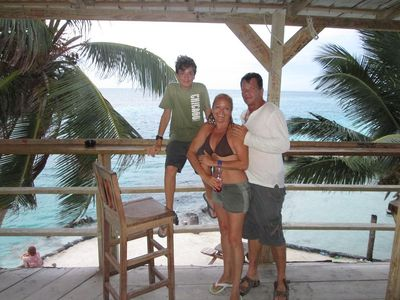Our family at 'The Split', Caye Caulker famous Beach and Bar