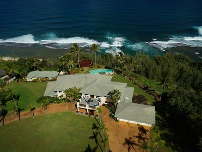 Hale Mana is a luxury estate with swimming pool, 2 hot tubs, spa center, observation deck, 5 bedrooms, walk to beach, and a breathtaking location.