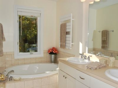 Upper Level Luxury Master Bathroom with Heated Tile Floors and Heated Towel Rack