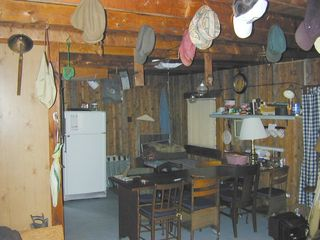 Tunk Lake cabin photo - Interior, looking toward dining area and kitchen.
