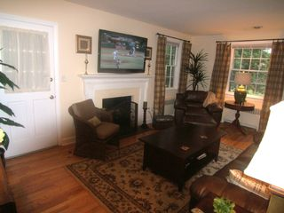 Wilmington house photo - Living Room with 52' Flat Screen TV over wood burning fireplace