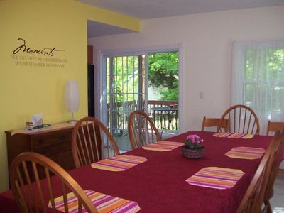 Spacious dining room, can seat 10 comfortably.