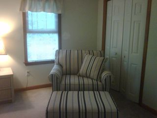 Mashpee house photo - Comfy oversize chair and ottoman in master bedroom - great for reading, relaxing