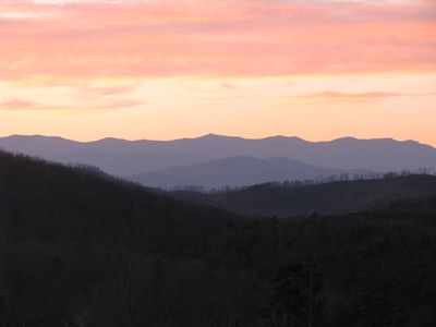 Asheville cabin rental - Beautiful Mt. Mitchell at sunset in 2010 from rear deck!!!
