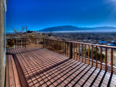 Gorgeous view of the Sandia Mountains from the deck