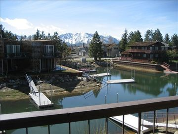 Tahoe Keys condo rental - Dock and mountain view