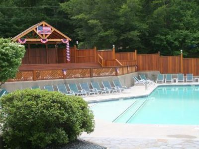 Club house outdoor pool and stage