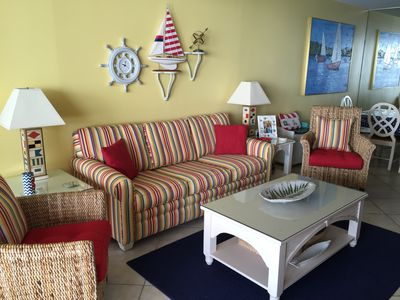 Nautical living room couch is a hideabed