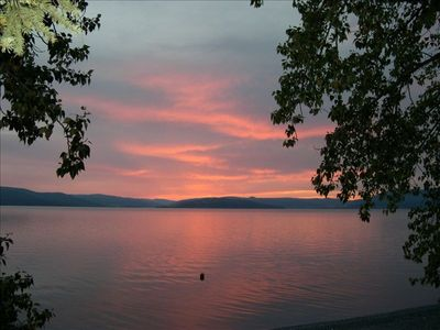 Sunset over Flathead Lake from our deck