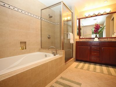 Master bath has a great soaking tub for lounging