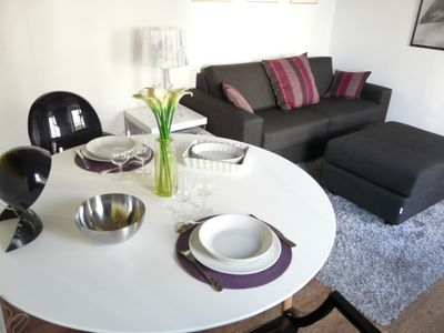 View on Dining Table and Sofa
