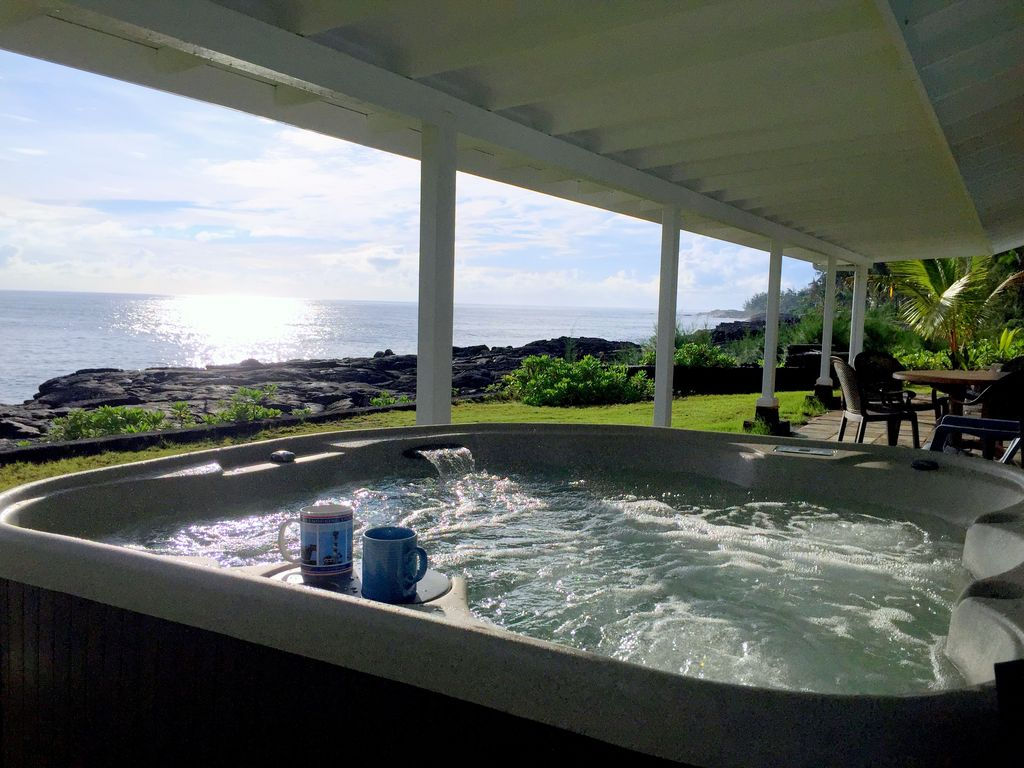 A great way to start and end your day at the oceanfront Alohahouse! Paradise!