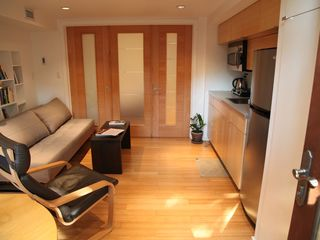 Brooklyn apartment photo - living room and kitchen with bedroom doors closed