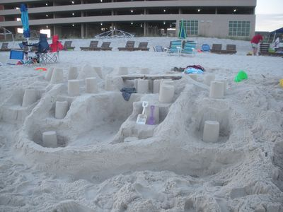 Sand is a wonderful medium to play with. Build a castle or sculpt a scene.