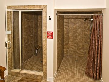 Shower and steamroom in workout facility