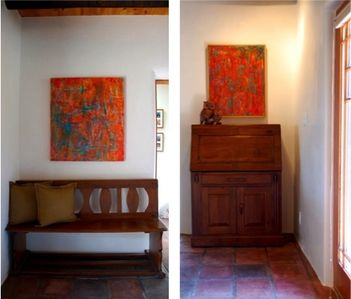 Santa Fe house rental - Entryway right and left view. Burmese antiques and original paintings by owner.