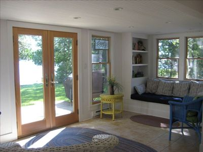 Twin-Size Window Seat in Sunroom