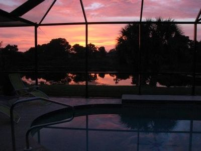 Sunset over the swimming pool & lake