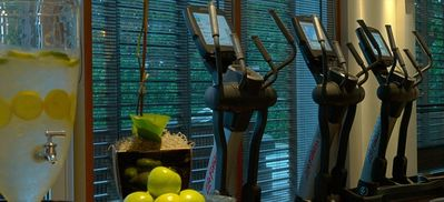 Fitness room open daily 7am-9pm. Workout with a view of the pools.