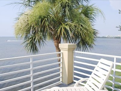 Miramar Beach townhome rental - View from master bedroom balcony. Listen to the palm tree blowing in the wind.