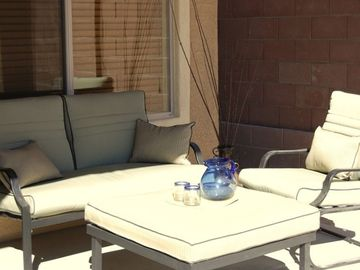Enjoy a sunny moment on the patio - morning sun!
