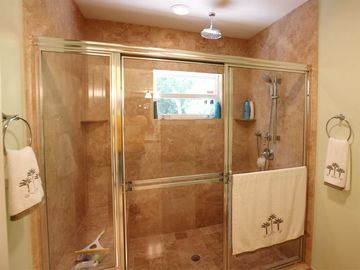 Master Bath with separate shower -dual shower head and lots of room