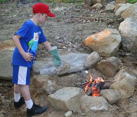 Woodstock lodge photo - Roasting marshmallows at the fire pit